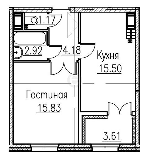 1 ком. кв. Петровский квартал на воде