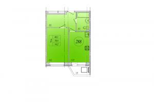 Однокомнатная квартира 40 кв. м. на 8-ом этаже в ЖК Тридевяткино царство